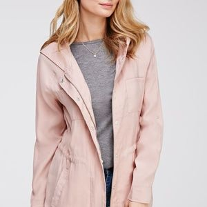 Forever 21 Hooded Twill Soft Pastel Pink Jacket